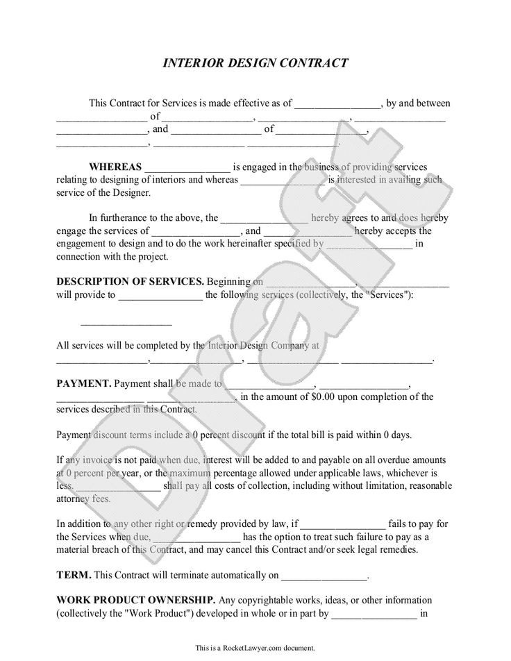 Interior Design Contract Sample Interior Design Contract Agreement Template with Sample