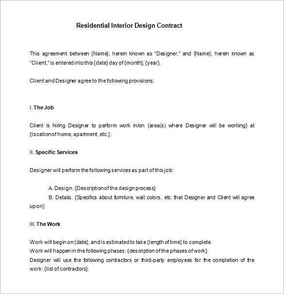 Interior Design Contract Sample Interior Design Contract
