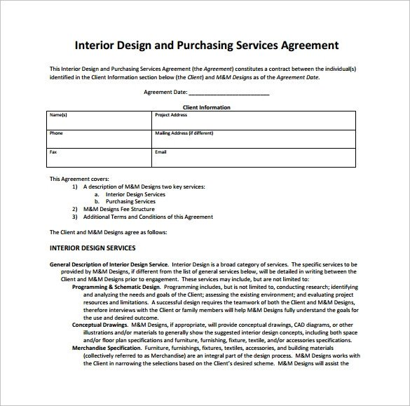 Interior Design Contract Sample Interior Design Contract Template 12 Download Documents