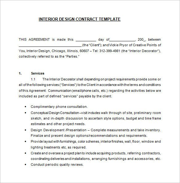 7 Interior Designer Contract Templates Word Pages PDF