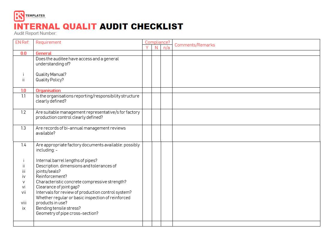 Internal Audit Checklist Template Excel 15 Internal Audit Checklist Templates Samples Examples