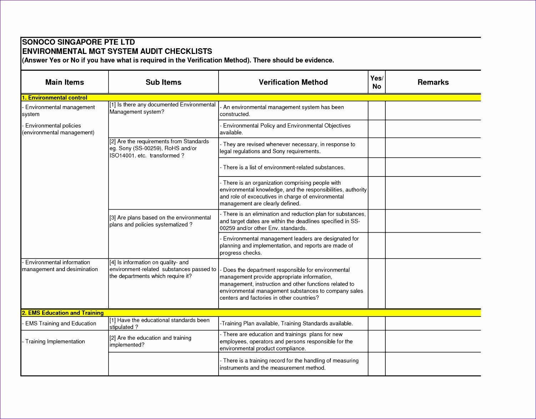 Internal Audit Checklist Template Excel 6 Audit Checklist Template Excel Exceltemplates