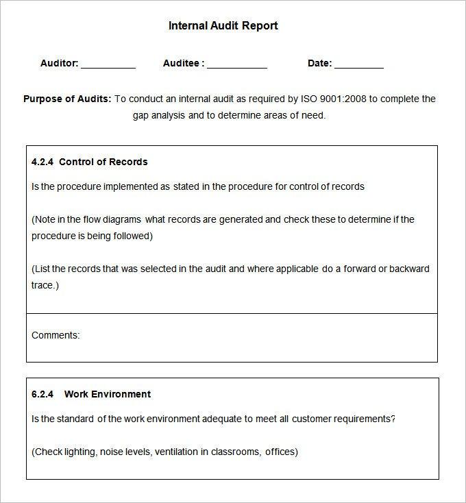Internal Audit Report Samples 19 Internal Audit Report Templates Free Sample Example