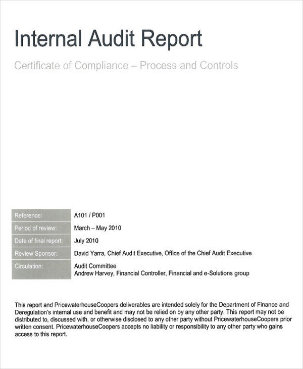 Internal Audit Report Samples 41 Report format Samples