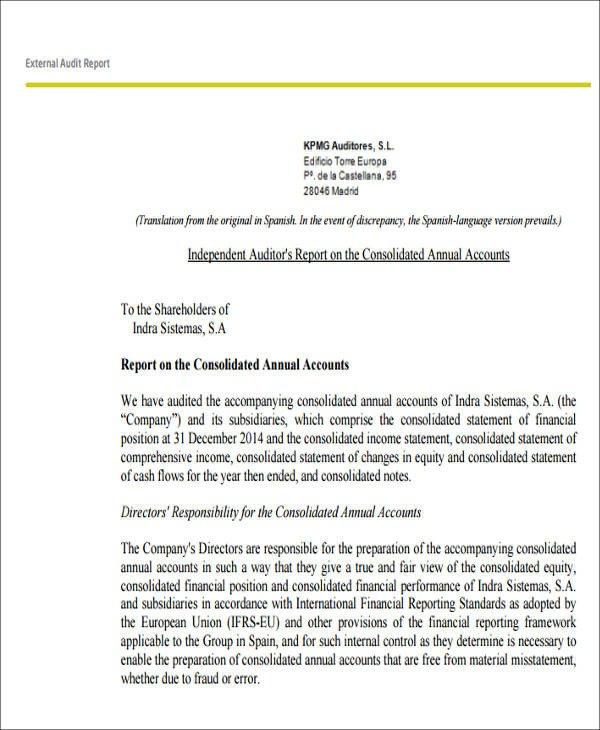 Internal Audit Report Samples 7 Sample External Audit Reports Docs Ms Word Page7