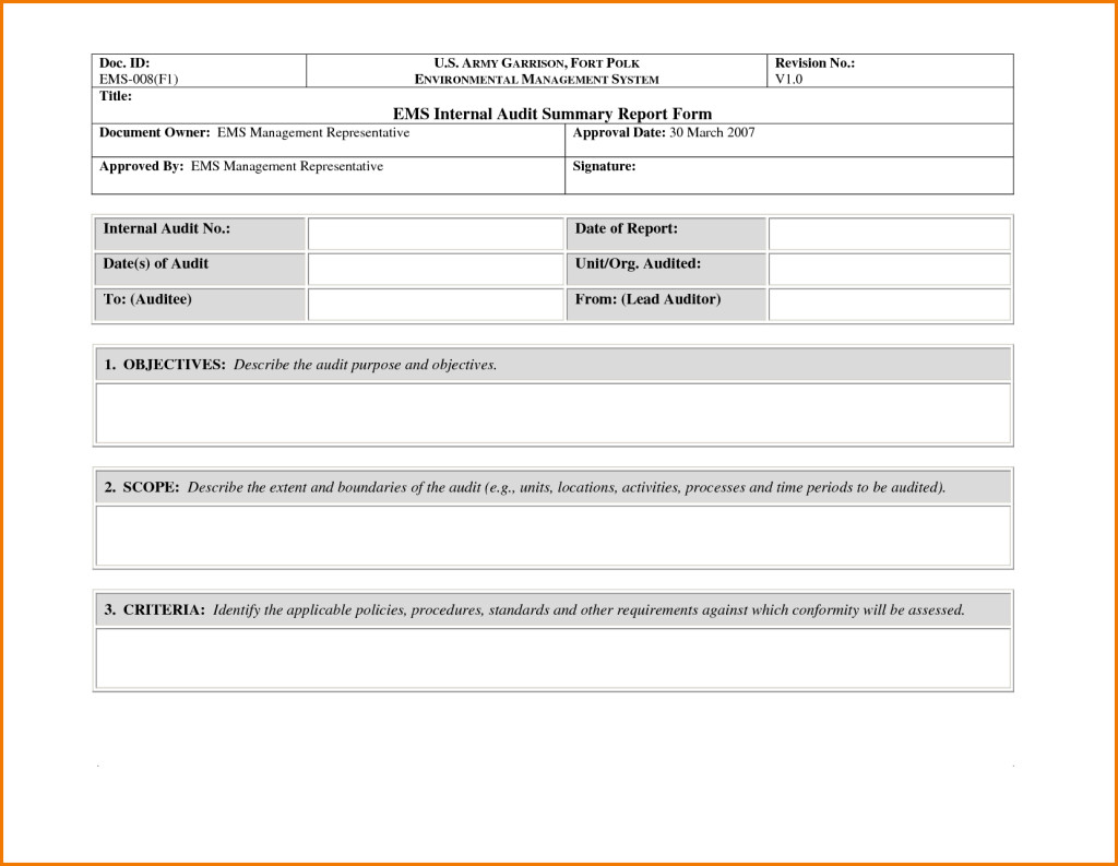 Internal Audit Report Samples Awesome Sample Of Internal Audit Summary Report form with