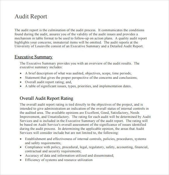Internal Audit Report Samples Sample Audit Report 16 Documents In Pdf Word