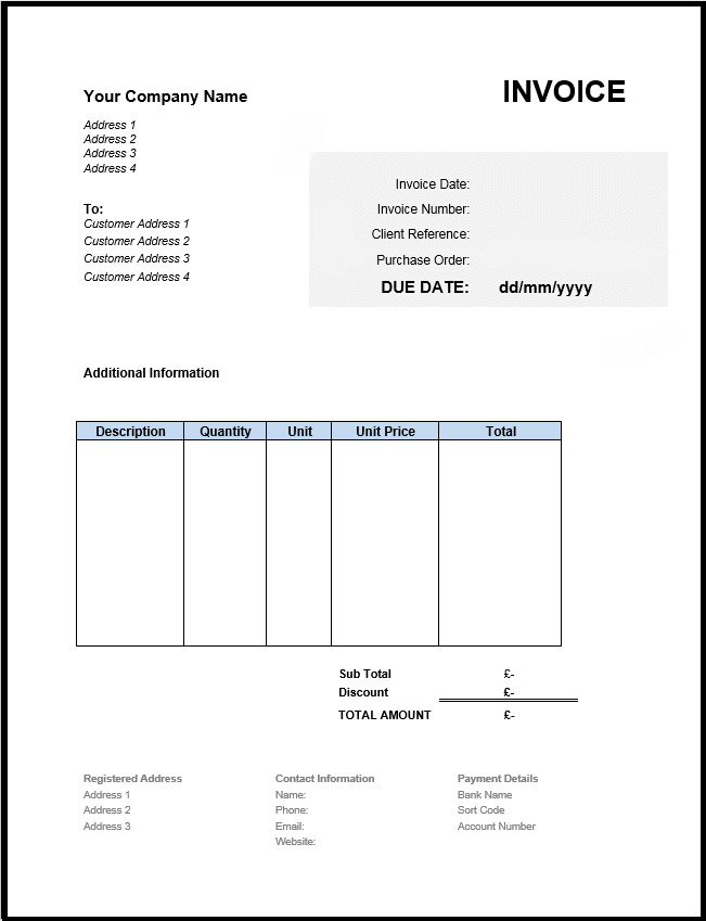 Invoice Template for Word Free Invoice Template Uk Use Line or Download Excel & Word