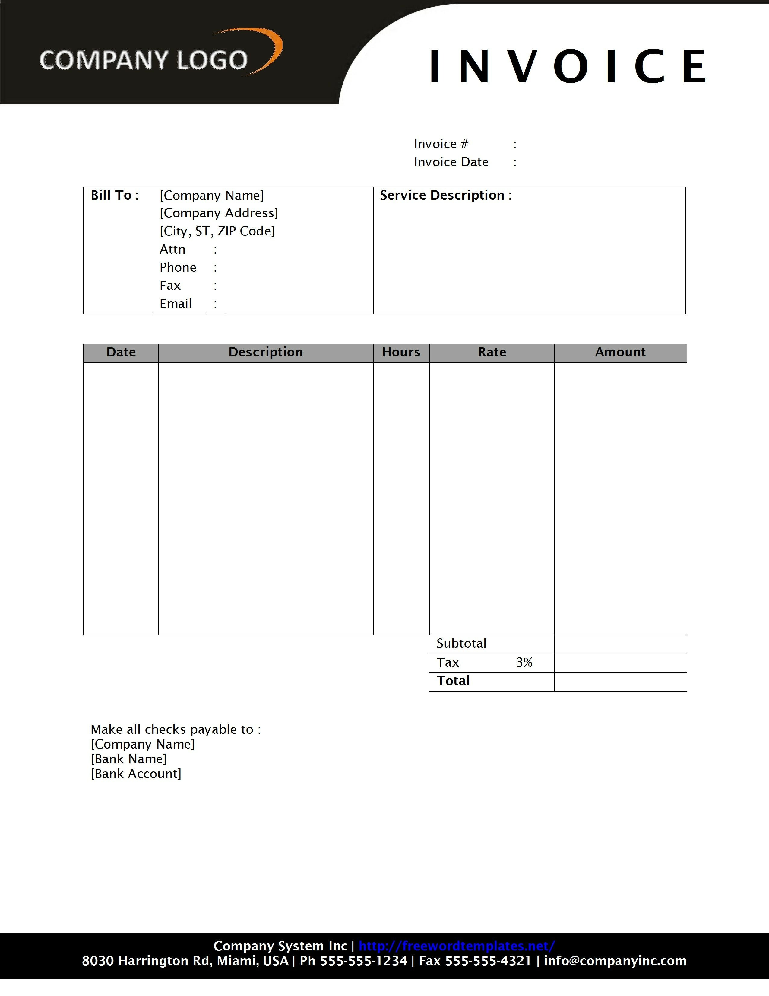 Invoice Template for Word General Service Invoice