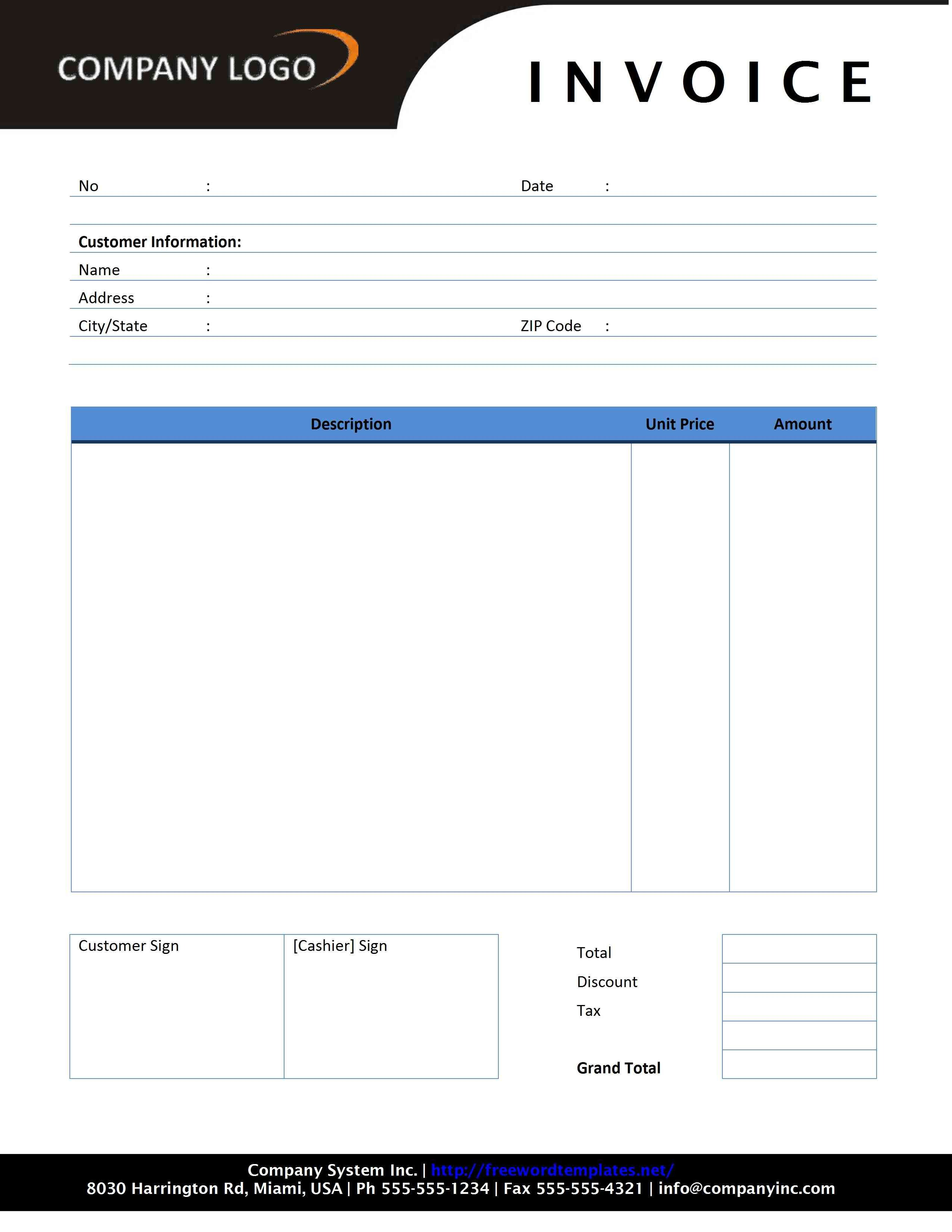 Invoice Template for Word Plumbing Invoice Template