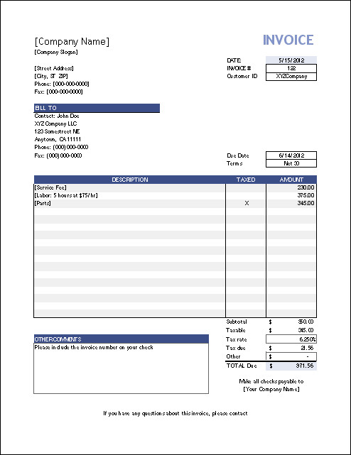 blank invoice templates for mac