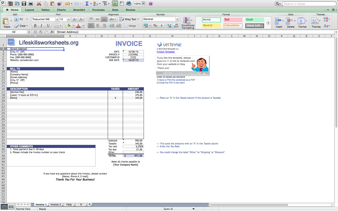 Invoice Templates for Macs Invoice Template Excel Mac