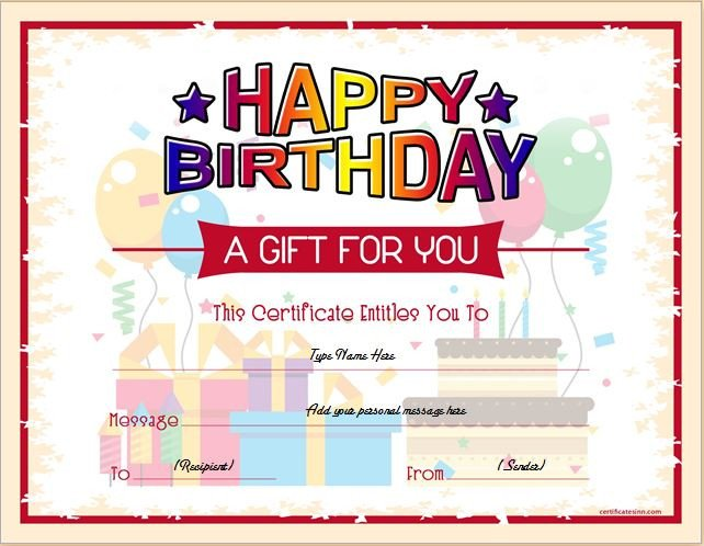 Iou Birthday Certificate Birthday Gift Certificate Sample Templates for Word