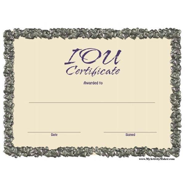 Iou Birthday Certificate Free Printable Iou Certificates