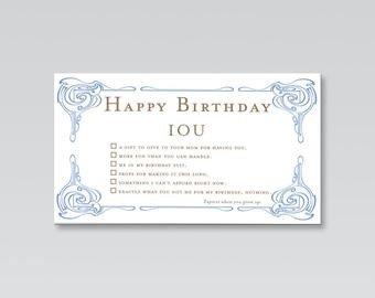 Iou Birthday Certificate Iou