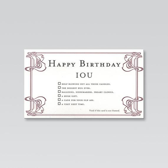 Iou Birthday Certificate Items Similar to Funny Birthday Card From Quiplip S Iou