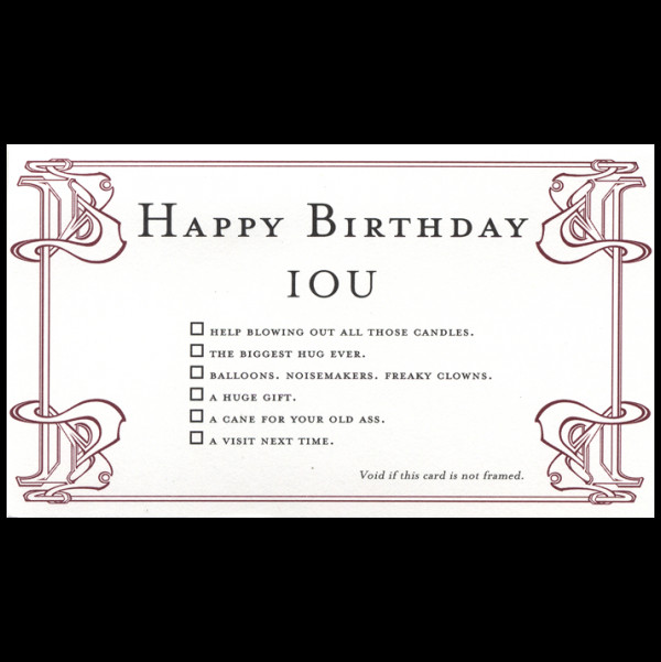 Iou Birthday Certificate Quiplip Happy Birthday Greeting Card From the Iou Collection