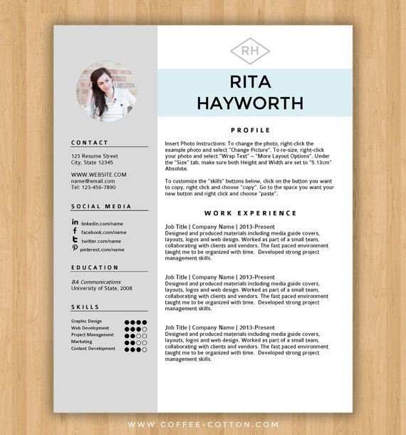It Resume Template Word Instant Download Resume Template & Cover Letter Editable