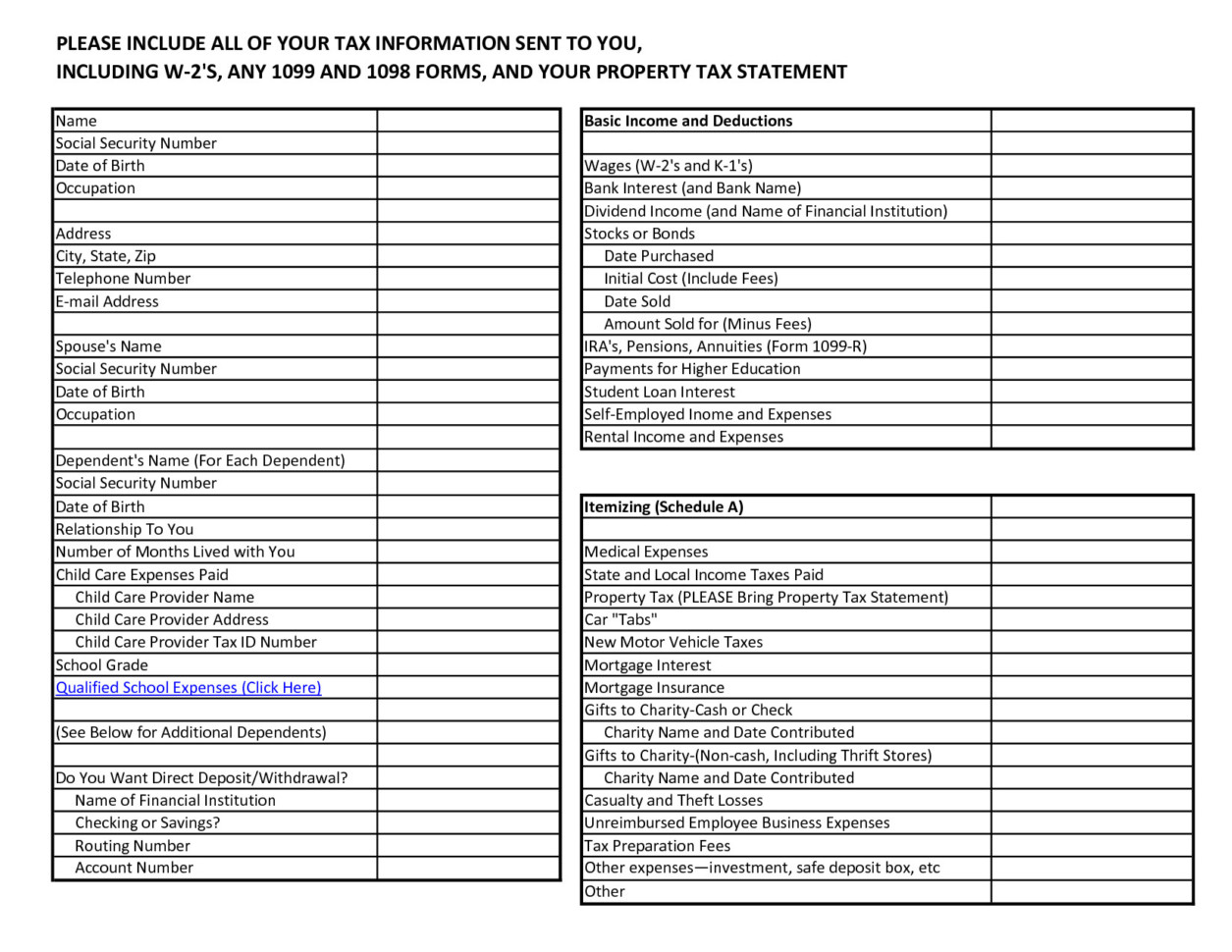 Itemized Fee Worksheet Excel 1099 Deductions Worksheet