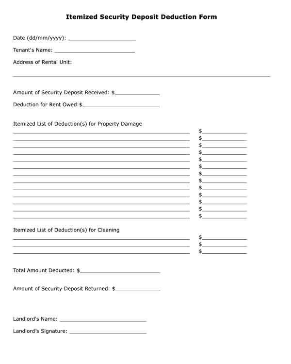 Itemized Fee Worksheet Excel Free Printable Legal form Itemized Security Deposit