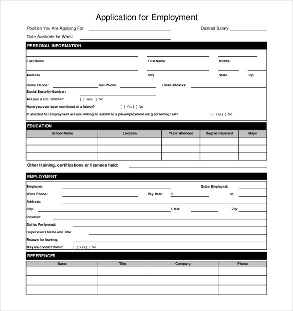 Job Application form Template 10 Restaurant Application Templates – Free Sample