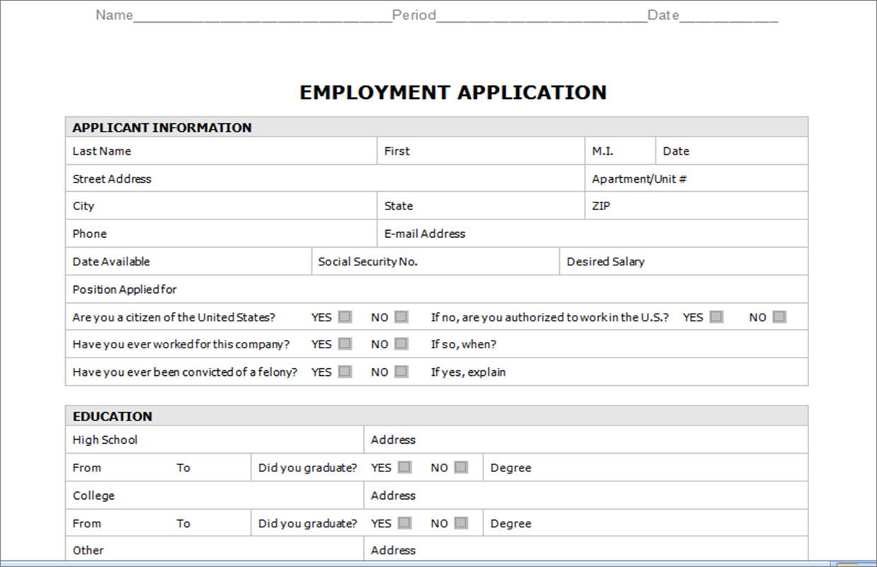 Job Application Template Word Document Resource Groups Career Preparation I High School