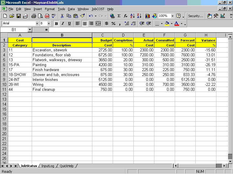 Job Cost Controller Spreadsheet for Excel