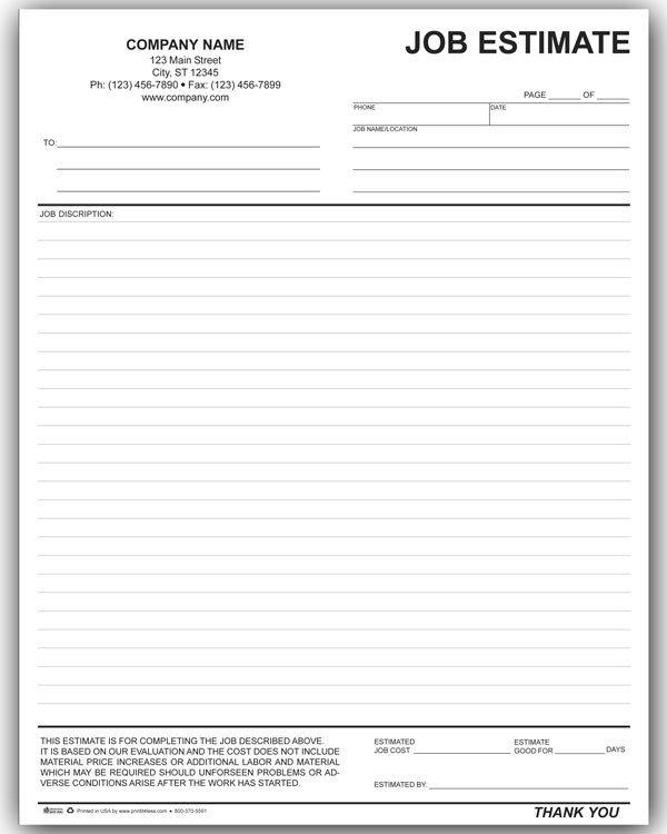 Job Estimate Template Pdf 10 Job Estimate Templates Excel Pdf formats