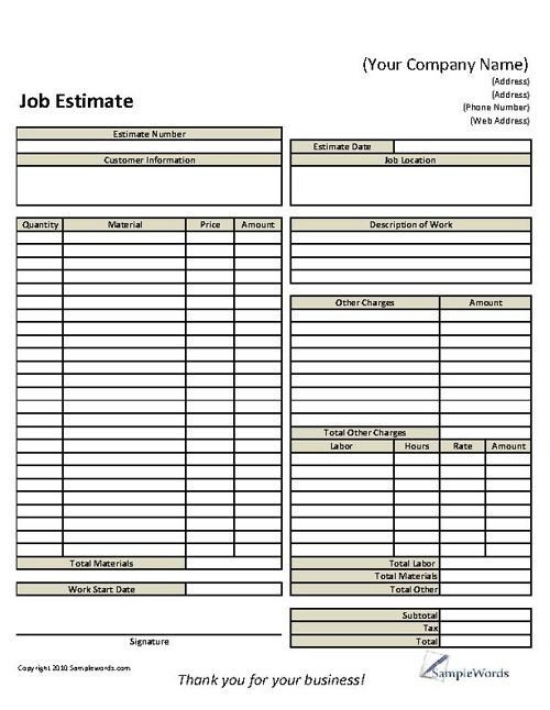 Job Estimate Template Pdf 12 Best Proposal Images On Pinterest