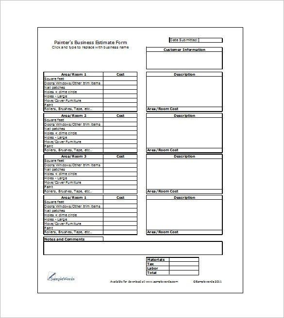 Job Estimate Template Pdf 19 Sample Estimate Templates Docs Pdf Excel