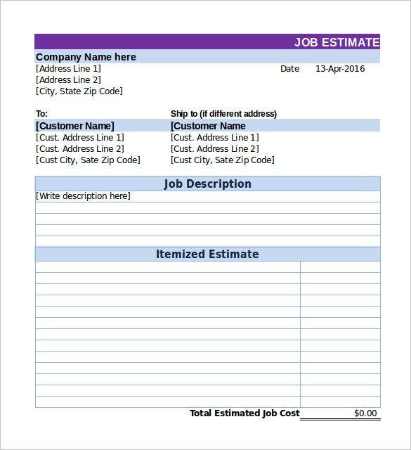 Job Estimate Template Pdf 26 Blank Estimate Templates Pdf Doc Excel Odt