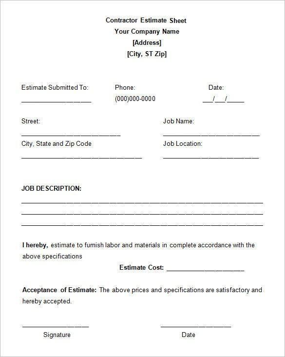 Job Estimate Template Pdf 5 Job Estimate Templates – Free Word Excel & Pdf