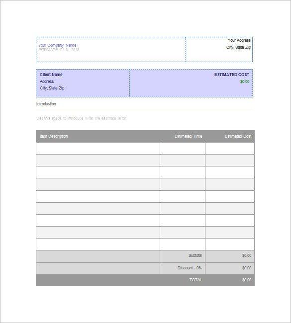 Job Estimate Template Pdf Blank Estimate Template – 23 Free Word Pdf Excel Google