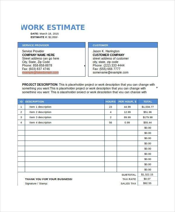 Job Estimate Template Pdf Sample Work Estimate Templates 7 Free Documents