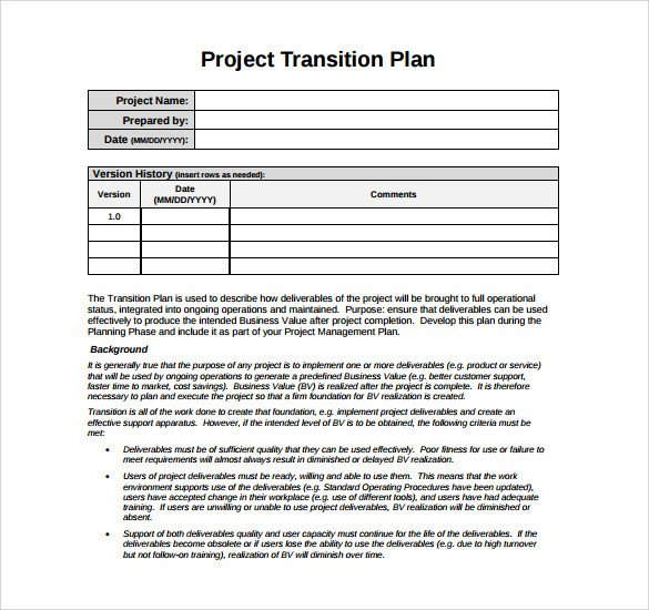 Job Transition Plan Template 9 Sample Transition Plans Pdf Word Pages