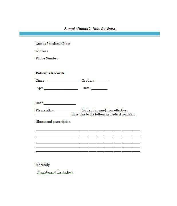 Kaiser Permanente Doctors Note Template 21 Free Doctor Note Excuse Templates Template Lab