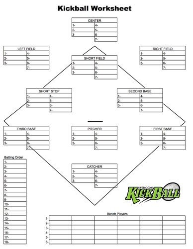 Kickball Roster Template forms