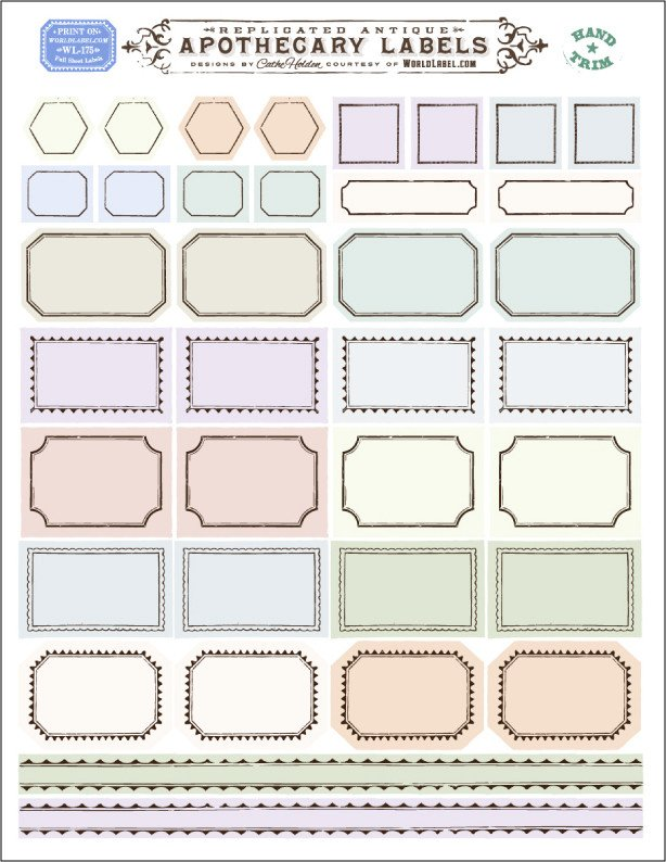 Label Templates Free Download ornate Apothecary Blank Labels by Cathe Holden