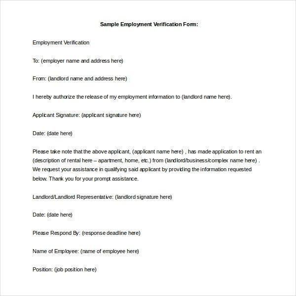 Landlord Verification form Template 11 Sample Employment Verification forms