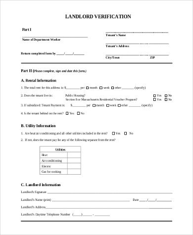 Sample Landlord Verification Form 7 Free Documents in