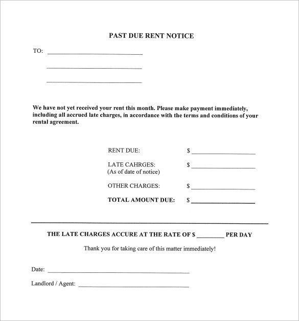 9 Late Rental Notice Templates PDF Google Docs MS
