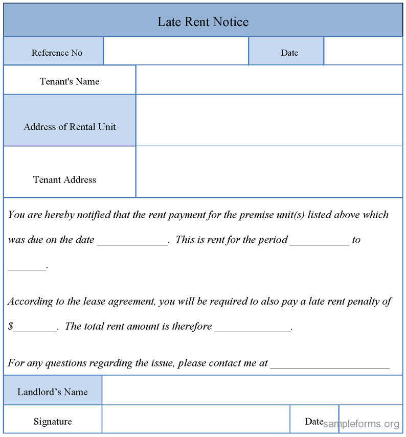 Late Rent Notice Template Late Rent Notice