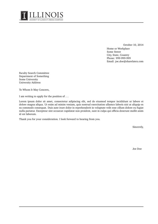 Illinois University Cover Letter LaTeX Template