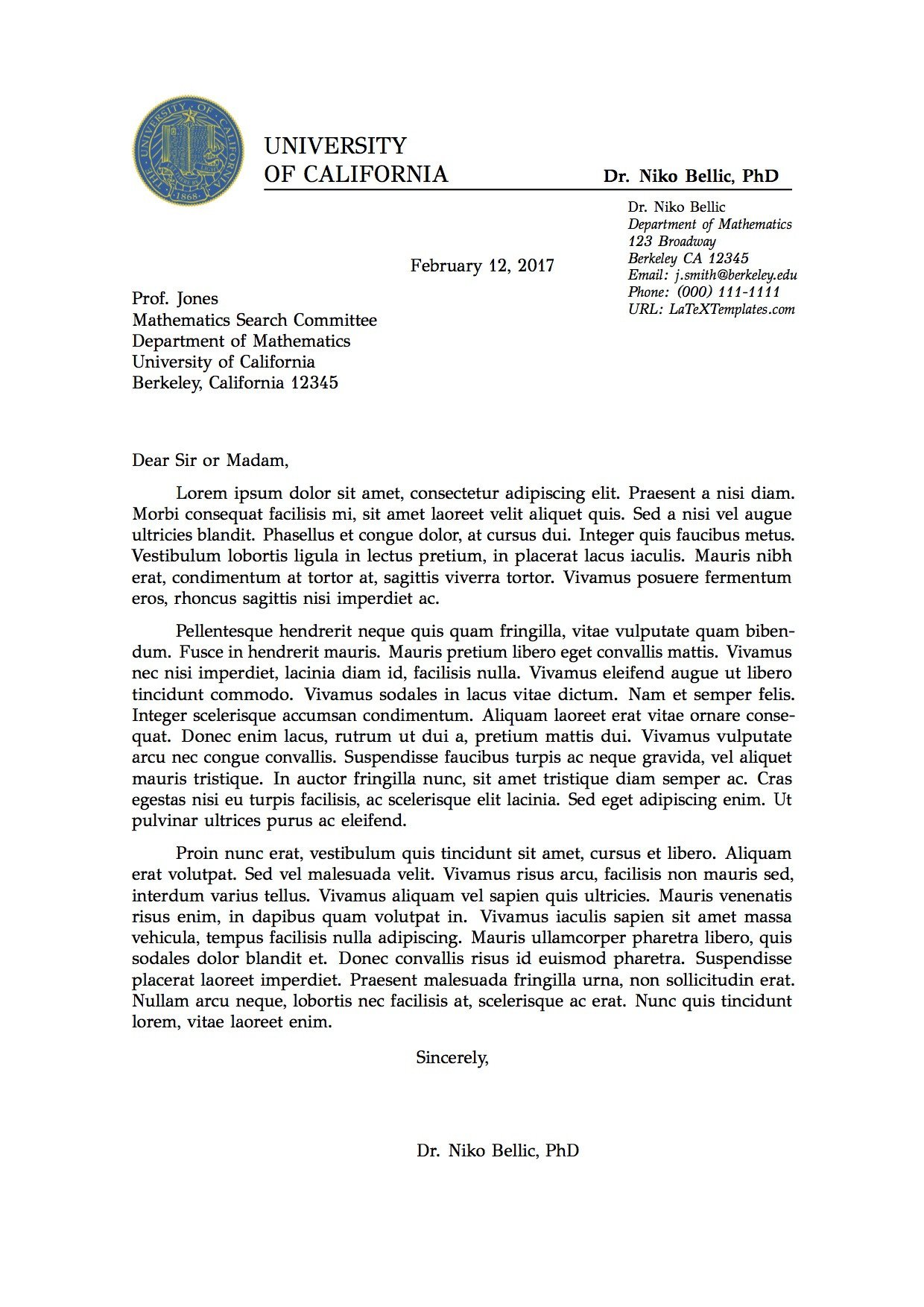 Latex Cover Letter Templates Letter Template Latex