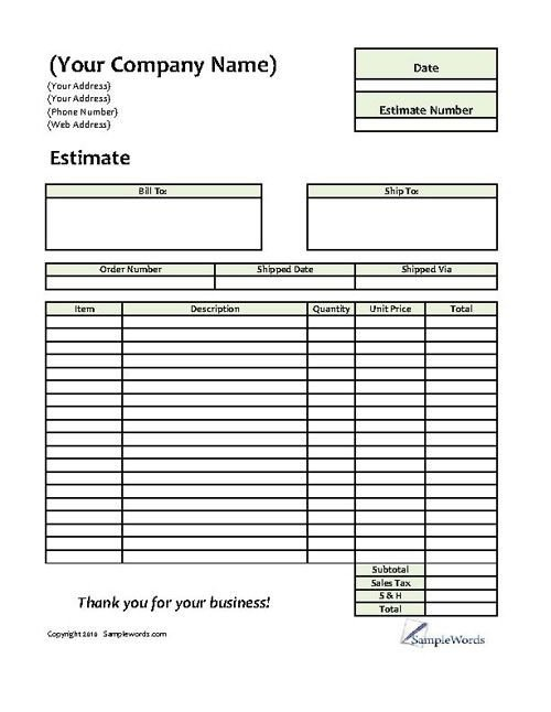 Lawn Care Estimate form Estimate Printable forms & Templates