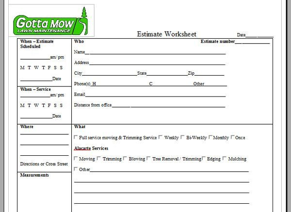 Lawn Care Estimate form Lawn Care Service Quote Template Image Quotes at Relatably