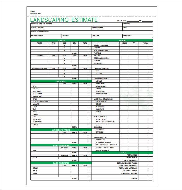 Lawn Care Estimate form Pin by Lisa R On Landscaping Business