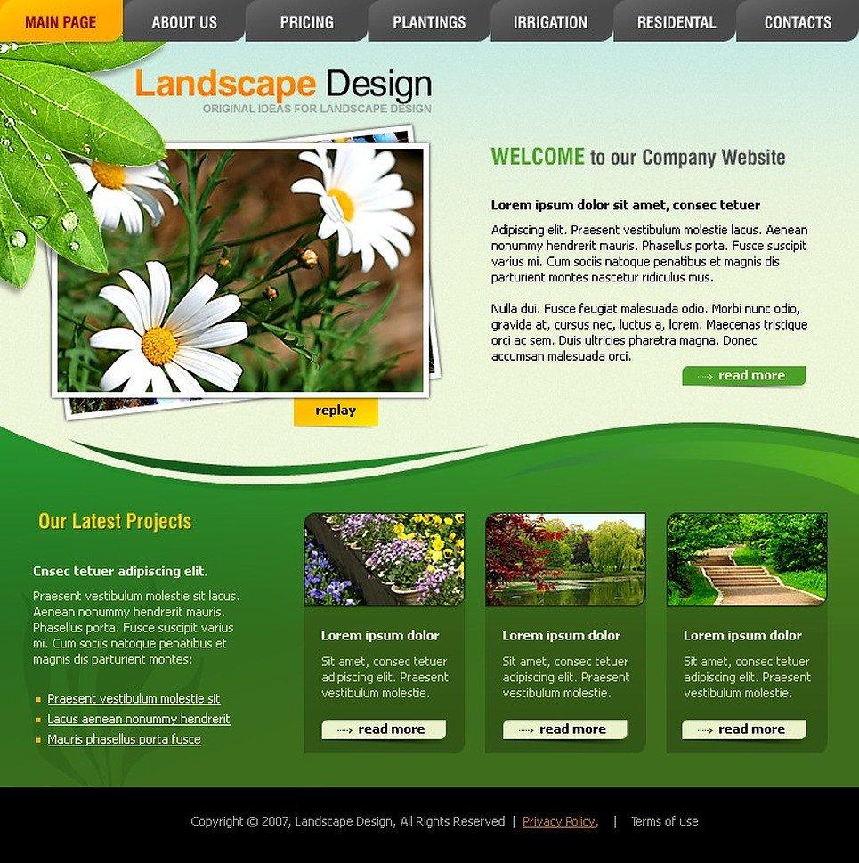 Lawn Care Website Template Landscape Design Flash Template