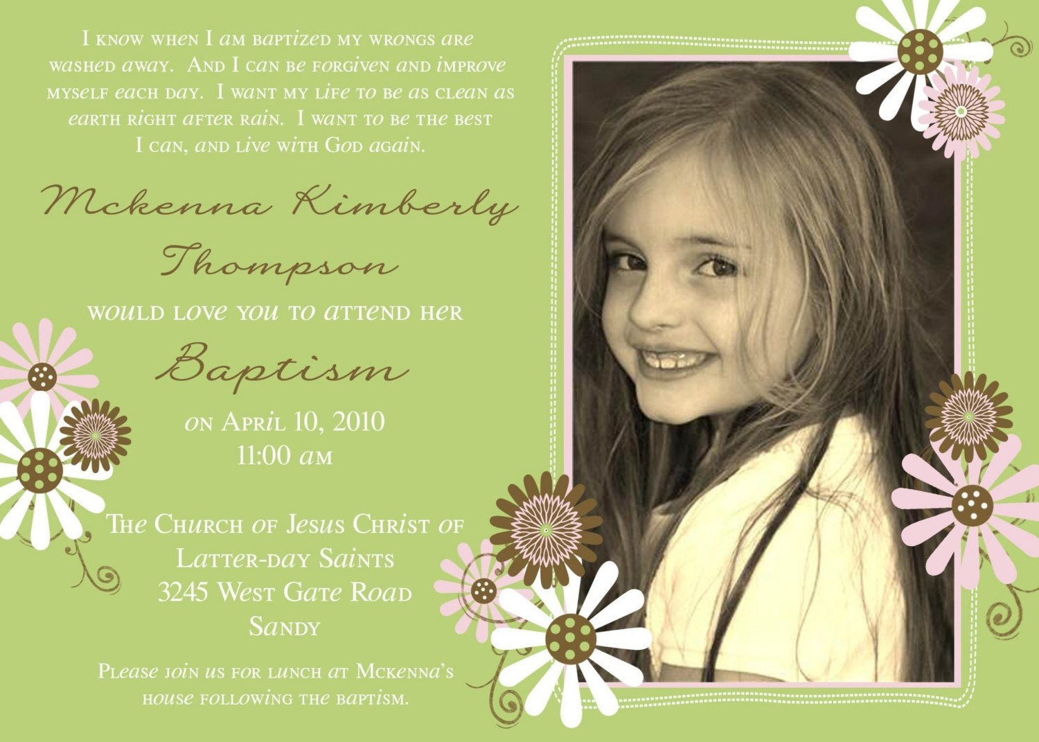 Lds Baptism Announcement Template Free Lds Baptism Invitation Flowers