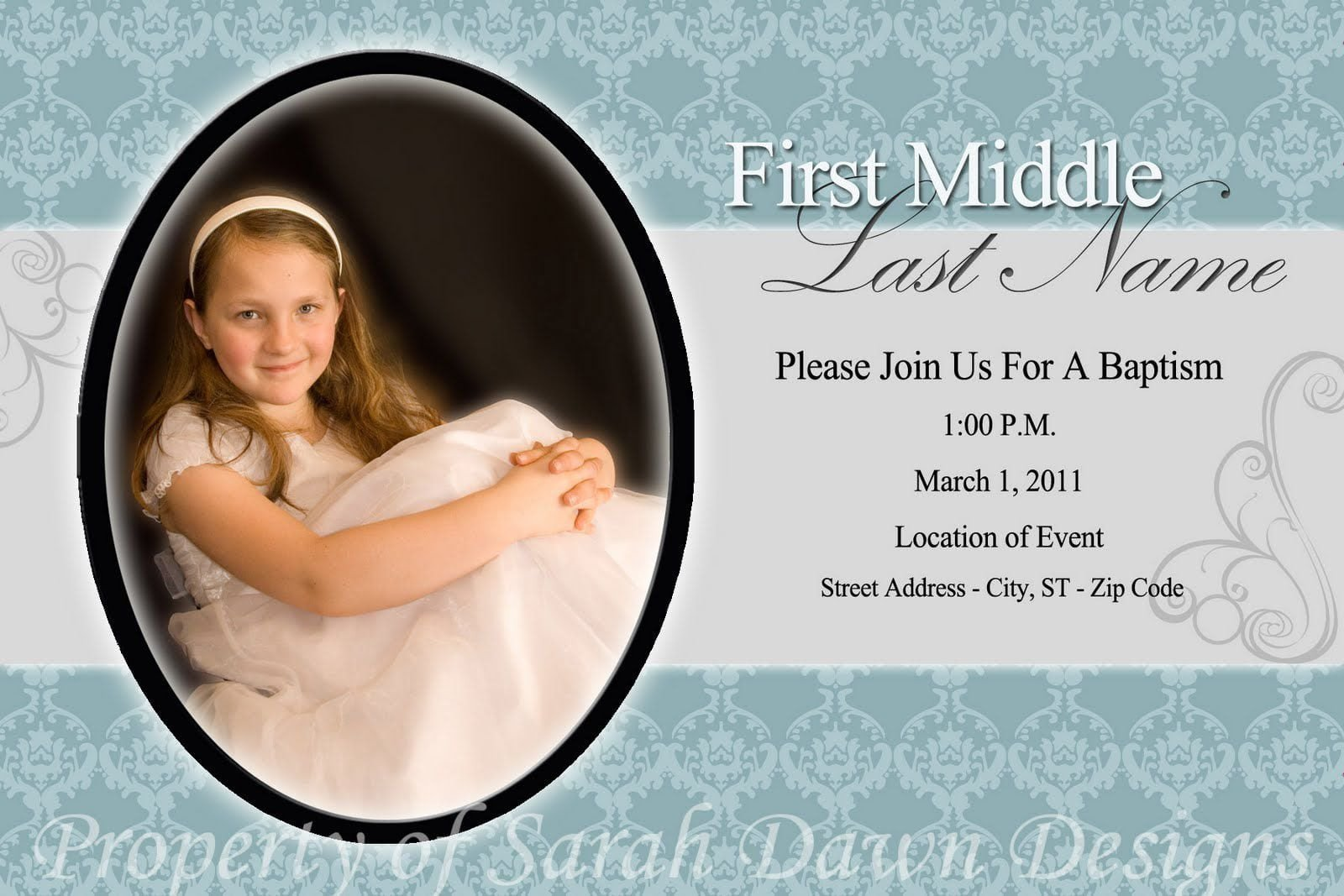 Lds Baptism Announcement Template Free Lds Baptism Invitation Template Free